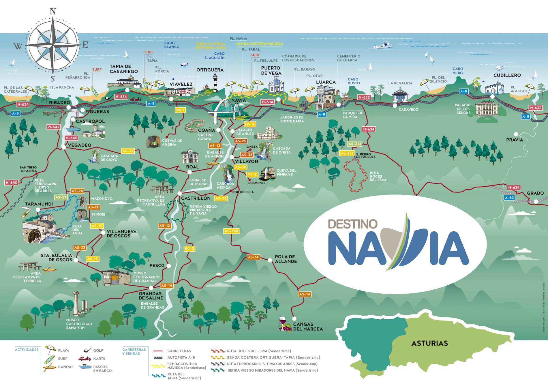 Costa De Asturias Mapa.Costa Asturiana Mapa Elperolo